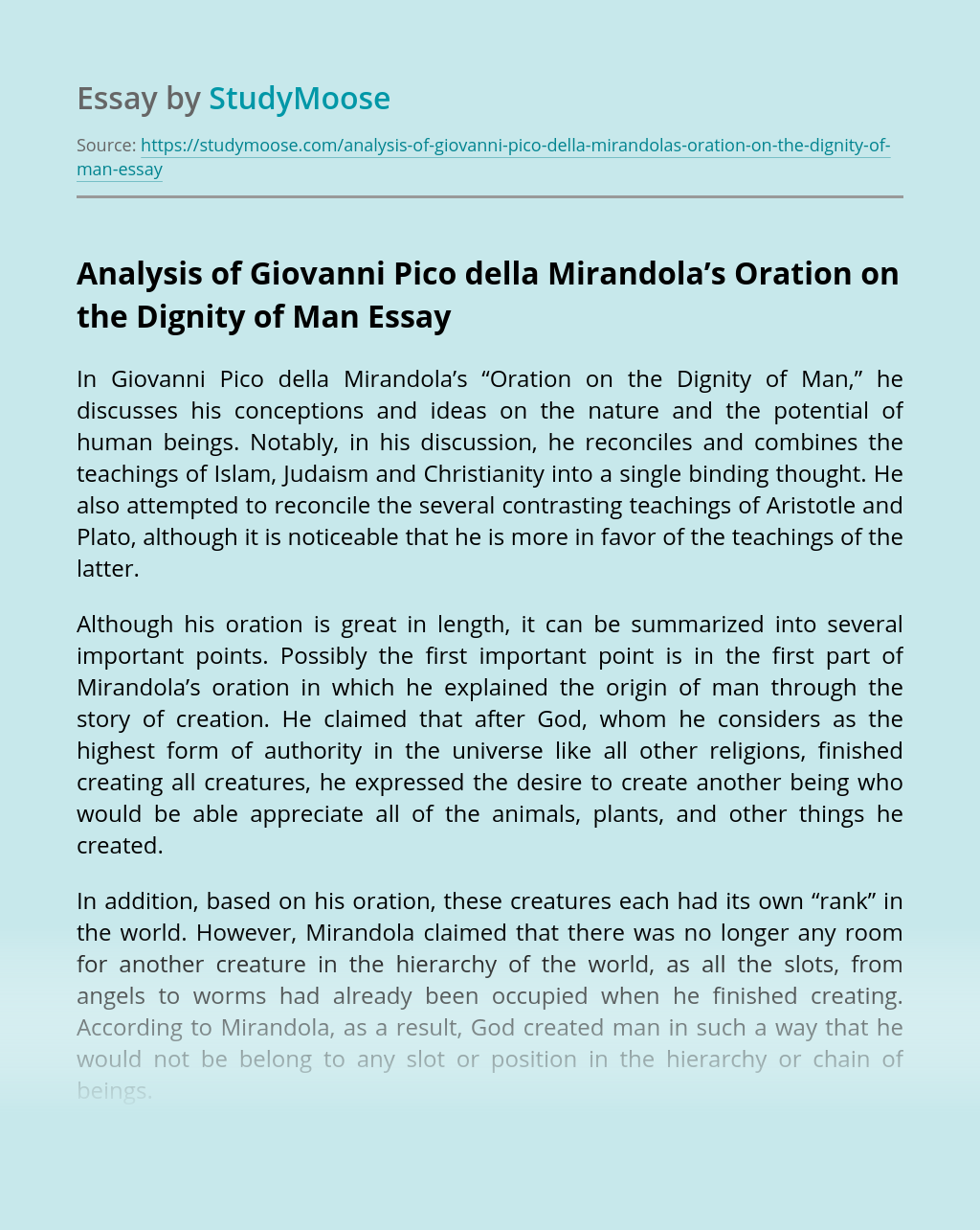 """Analysis of Giovanni Pico della Mirandola's """"Oration on the Dignity of Man"""""""