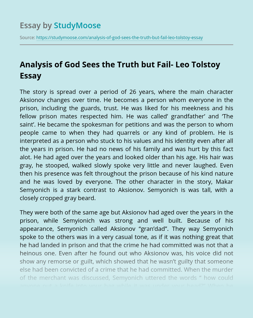 Analysis of God Sees the Truth but Fail- Leo Tolstoy
