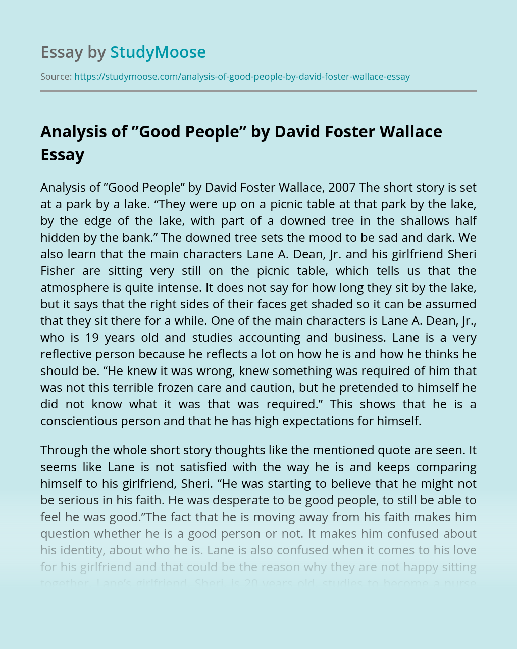 "Analysis of ""Good People"" by David Foster Wallace"