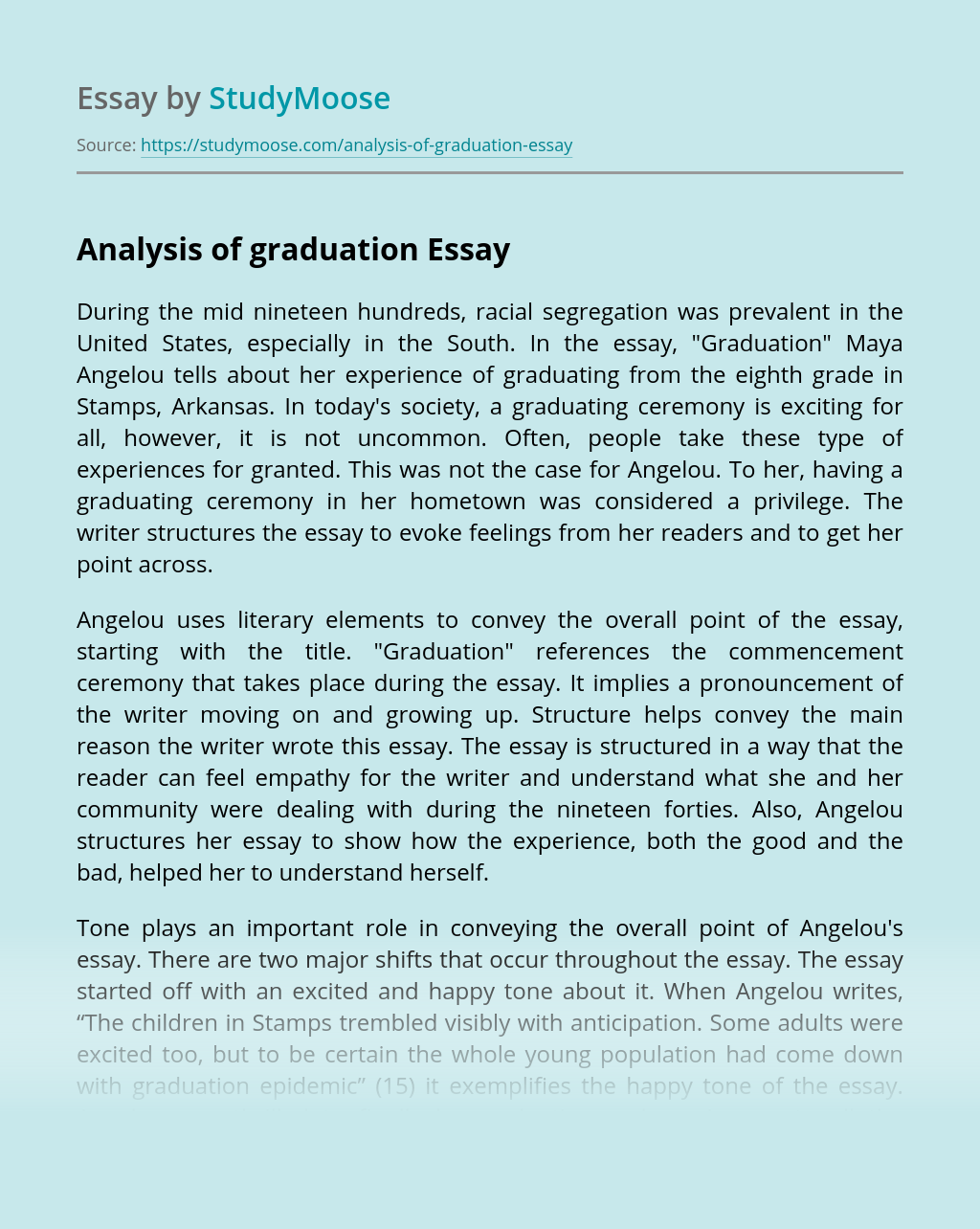 Analysis of graduation