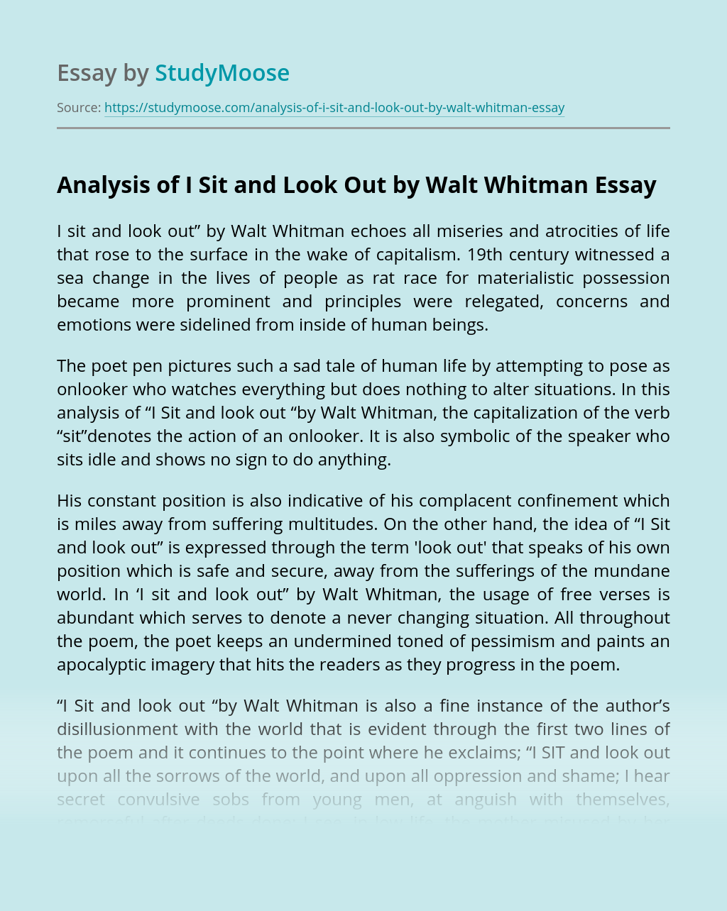 Analysis of I Sit and Look Out by Walt Whitman
