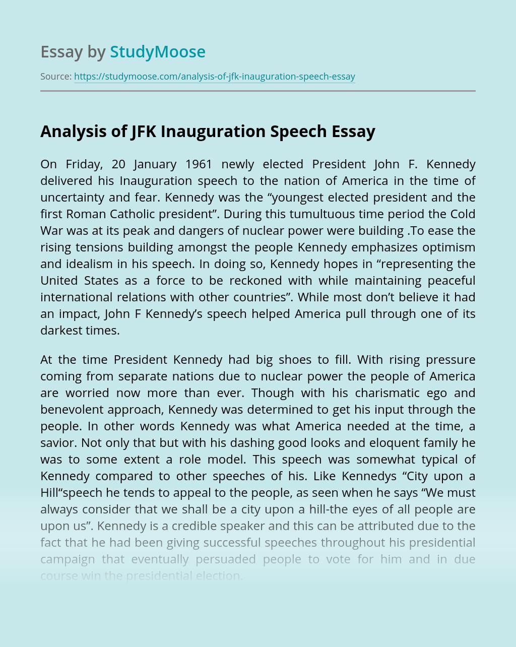 Analysis of JFK Inauguration Speech