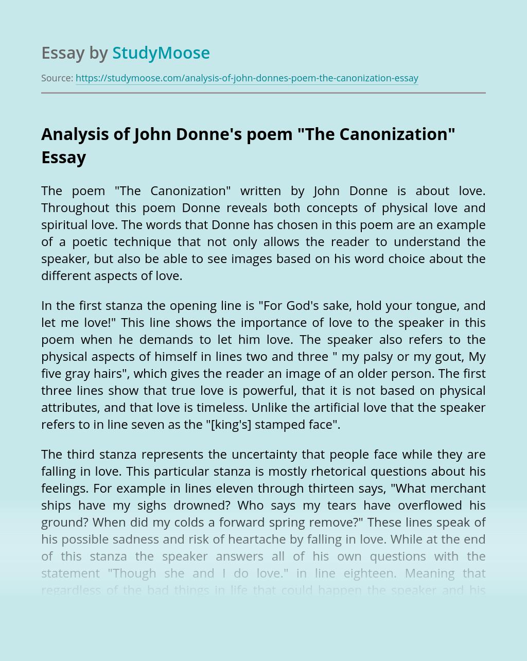 "Analysis of John Donne's Poem ""The Canonization"""