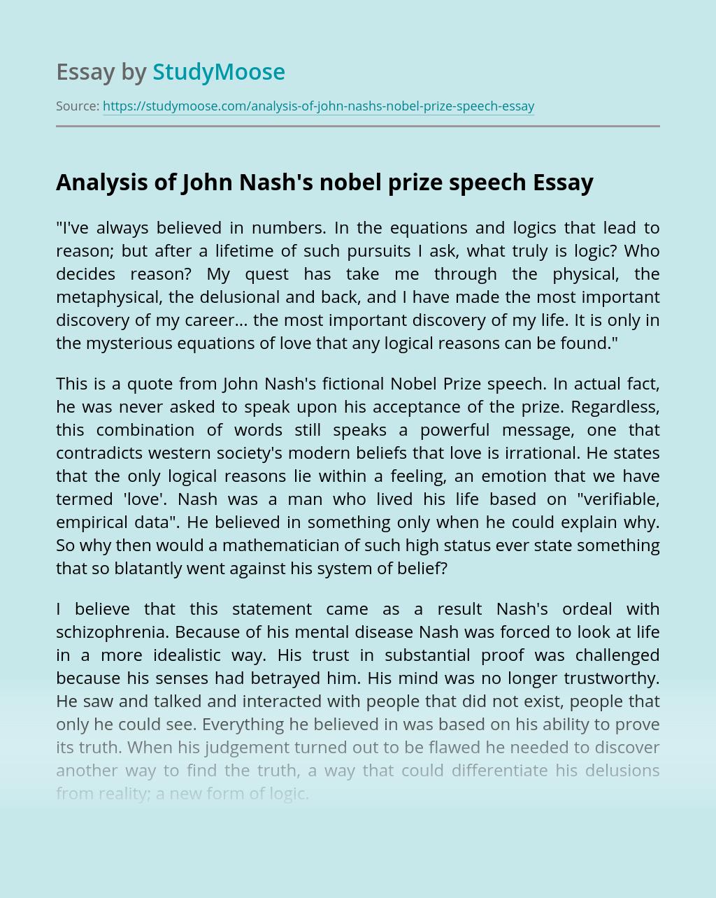 Analysis of John Nash's nobel prize speech