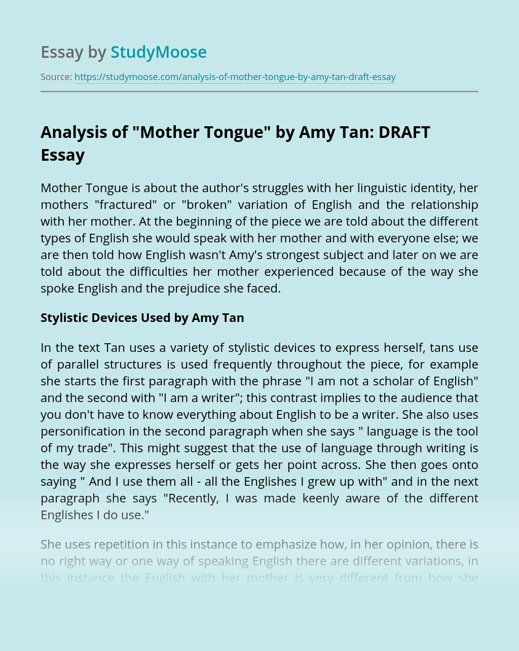 """Analysis of """"Mother Tongue"""" by Amy Tan: DRAFT"""