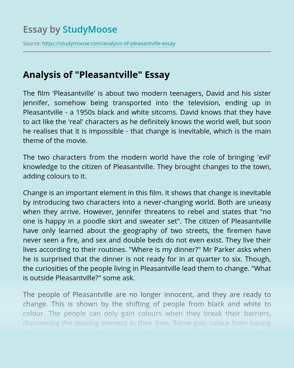 """Analysis of """"Pleasantville"""""""