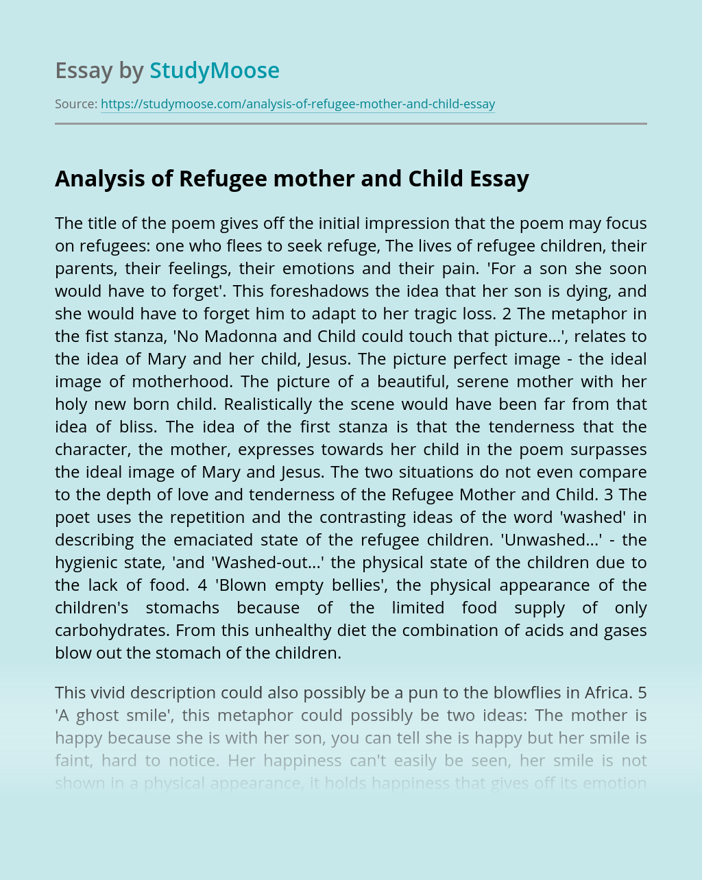 Analysis of Refugee mother and Child