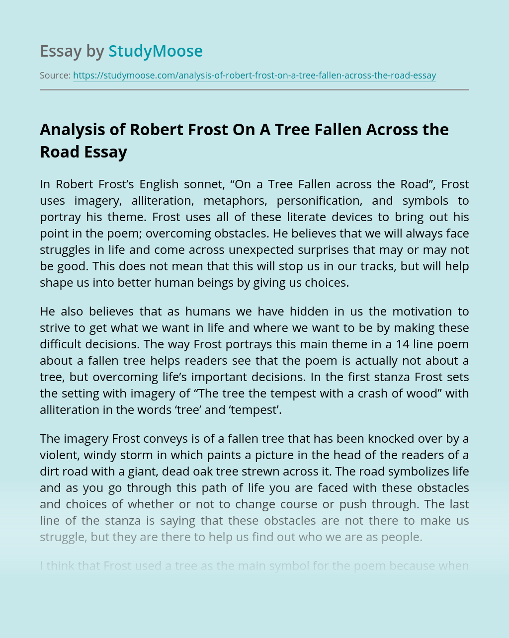 Analysis of Robert Frost On A Tree Fallen Across the Road