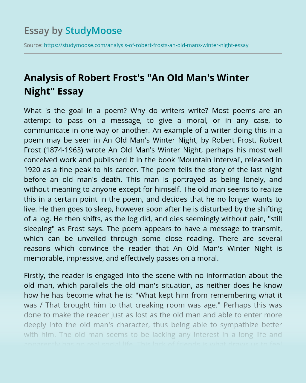 """Analysis of Robert Frost's """"An Old Man's Winter Night"""""""