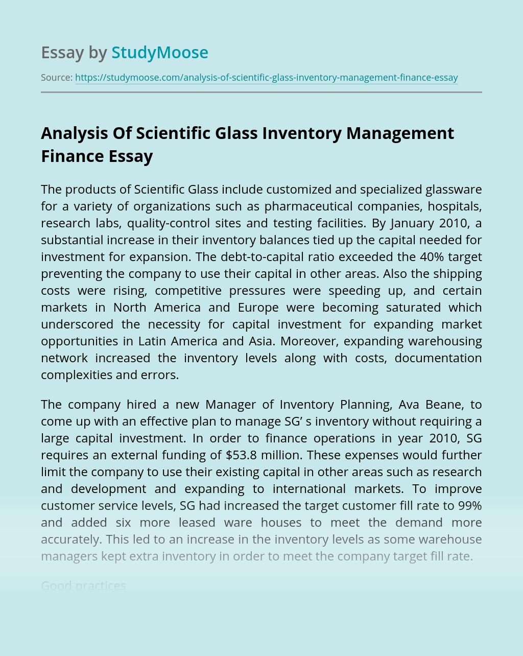 Analysis Of Scientific Glass Inventory Management Finance
