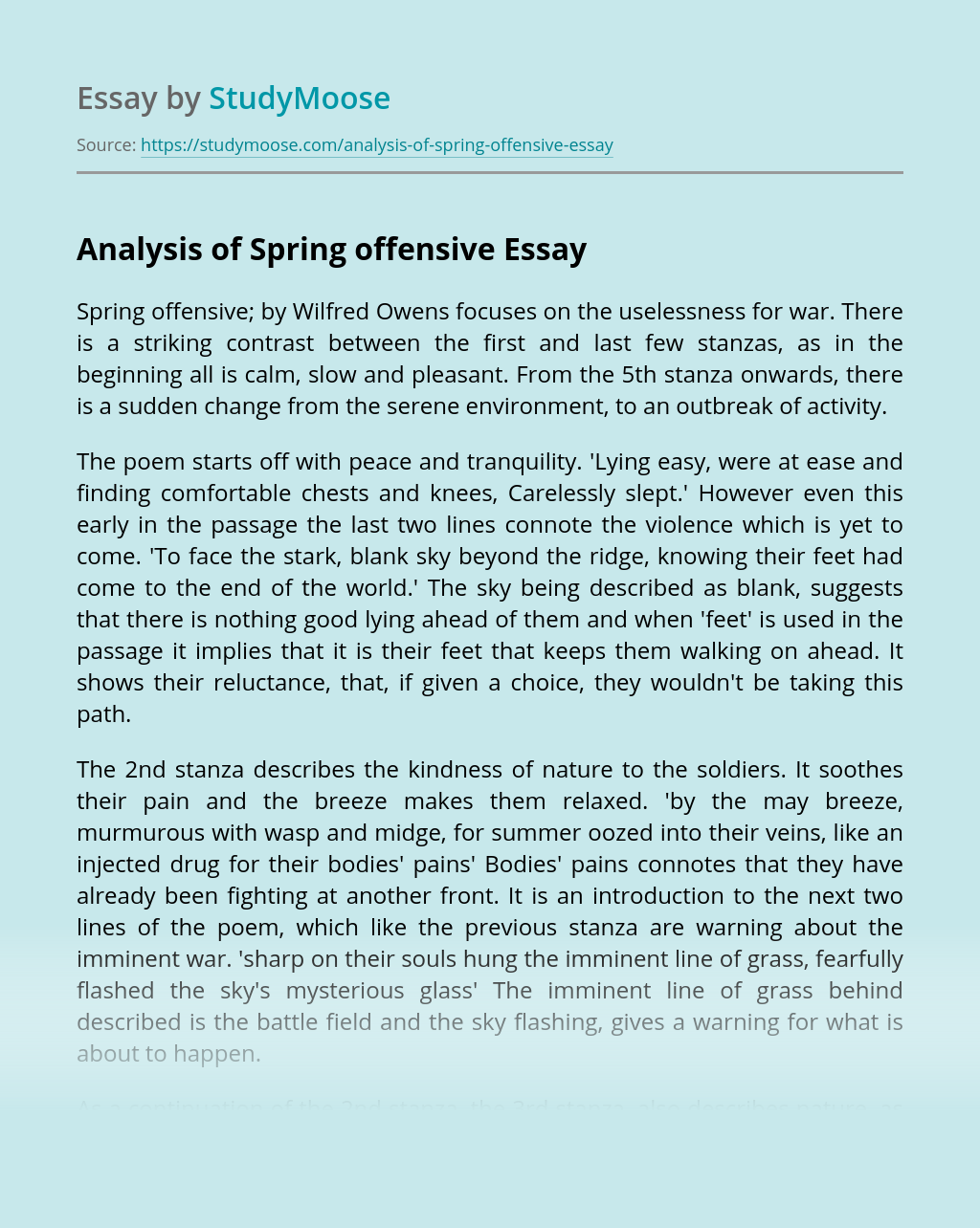 Analysis of Spring offensive