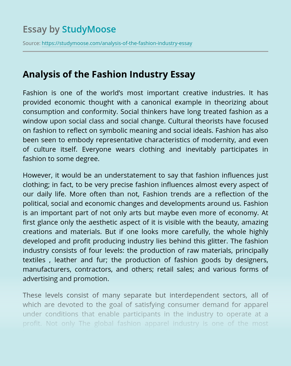 Analysis of the Fashion Industry