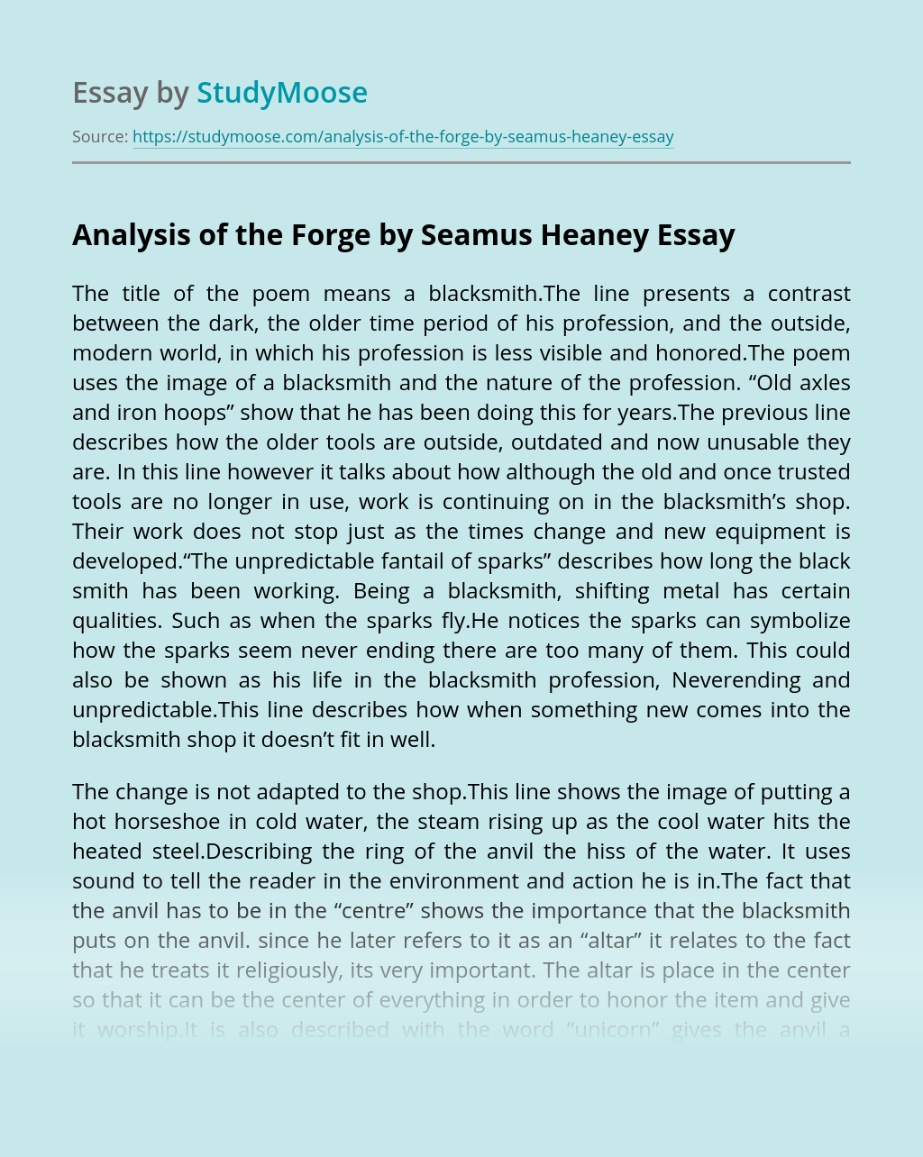 Analysis of the Forge by Seamus Heaney