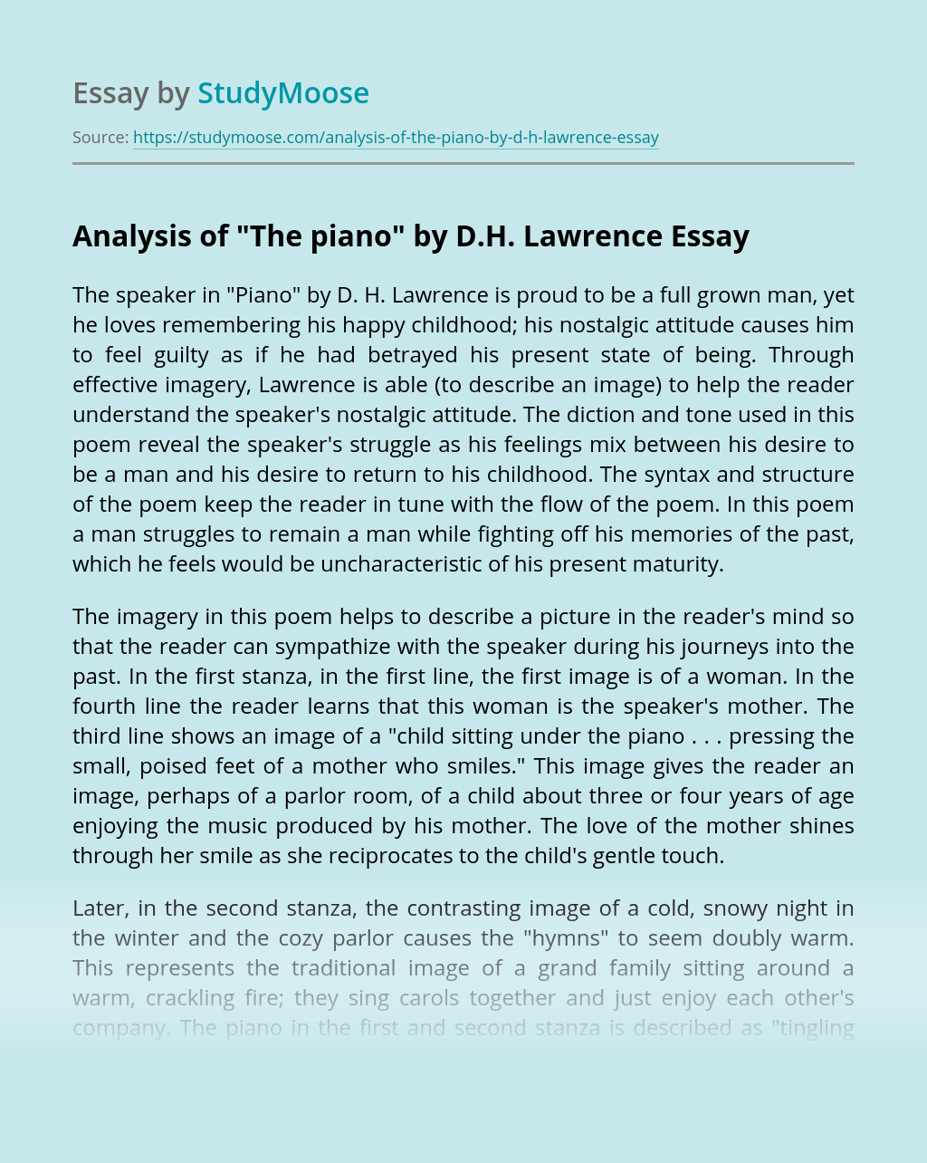 "Analysis of ""The piano"" by D.H. Lawrence"