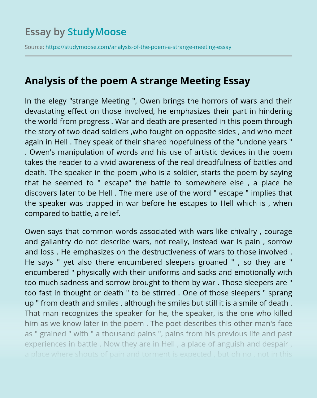 Analysis of the poem A strange Meeting