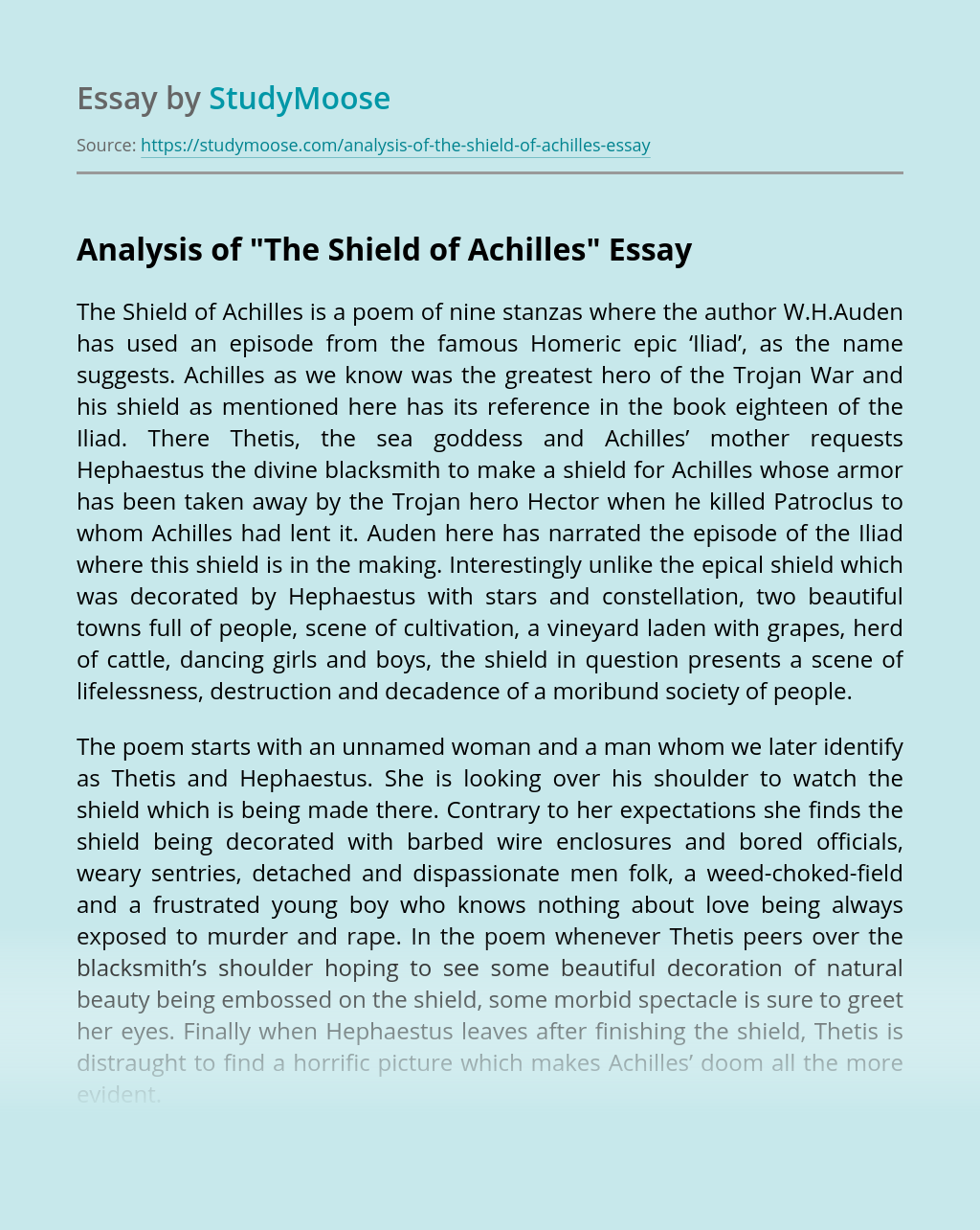 """Analysis of """"The Shield of Achilles"""""""