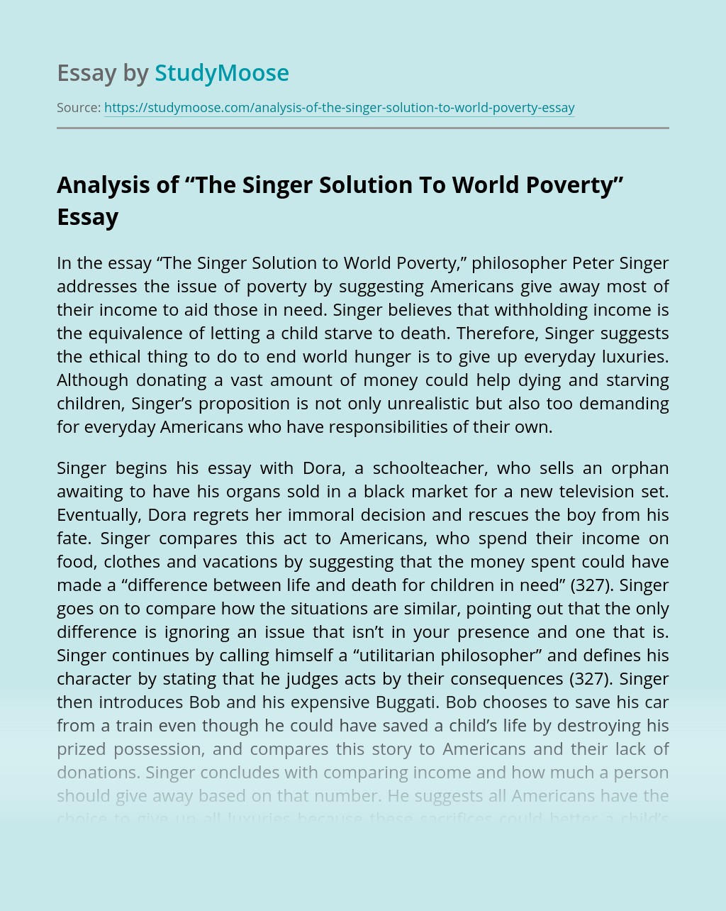 """Analysis of """"The Singer Solution To World Poverty"""""""