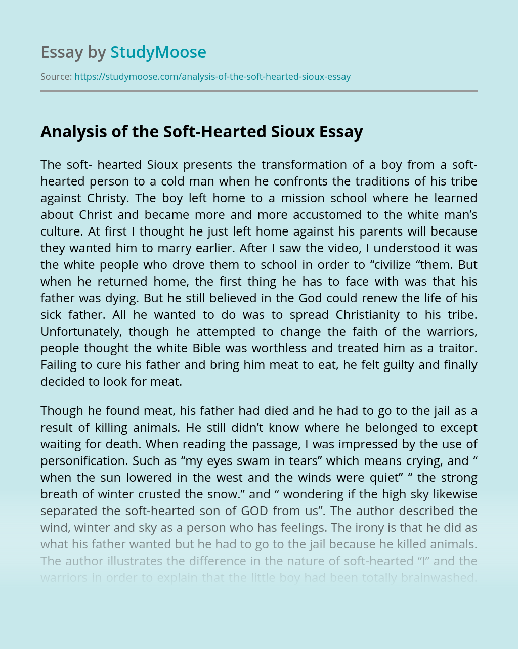 Analysis of the Soft-Hearted Sioux