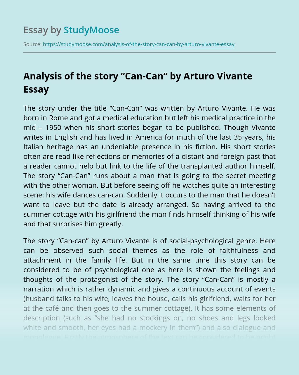 """Analysis of the story """"Can-Can'' by Arturo Vivante"""