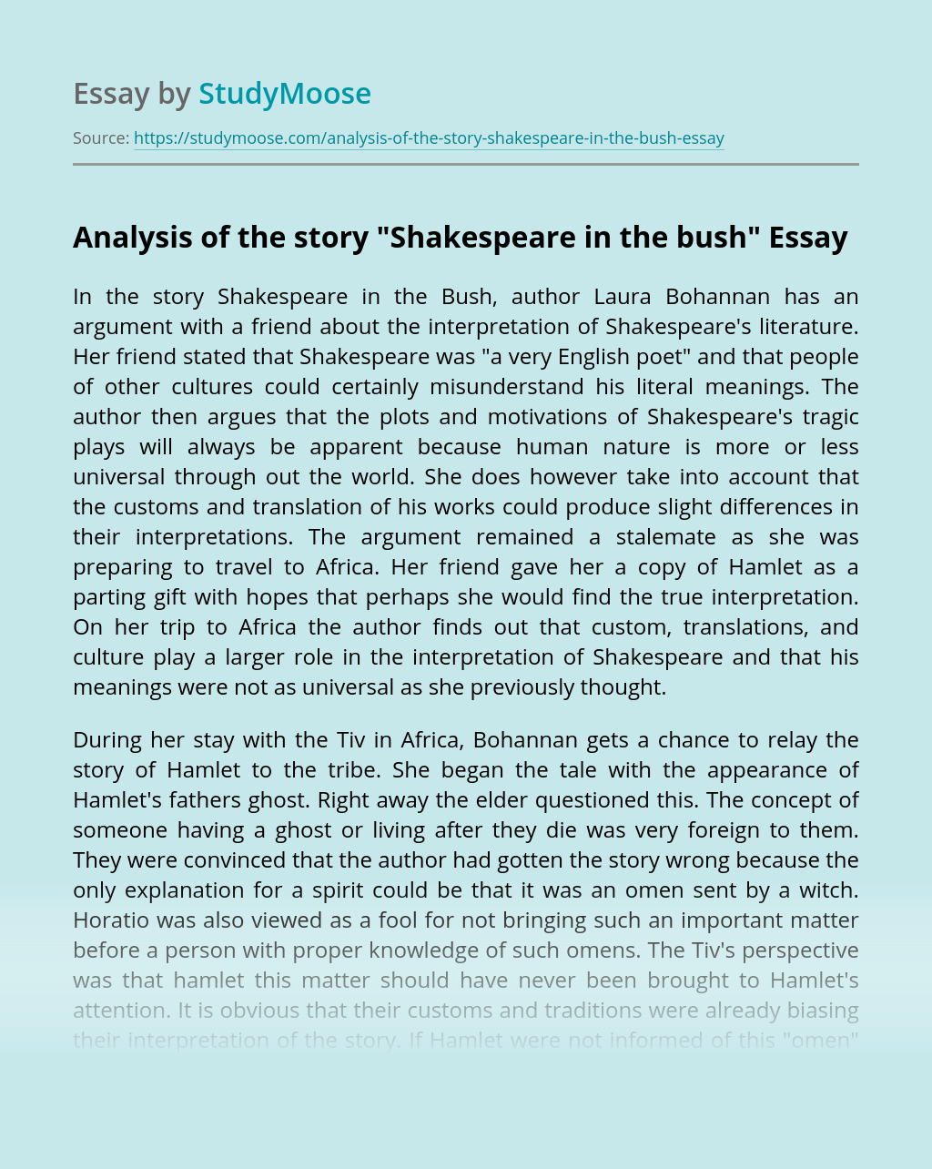 "Analysis of the story ""Shakespeare in the bush"""