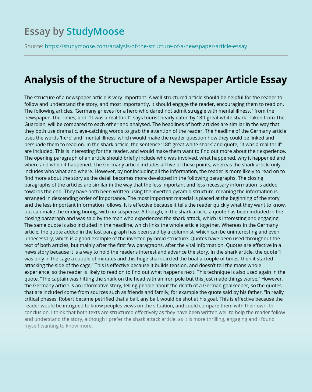 Analysis of the Structure of a Newspaper Article