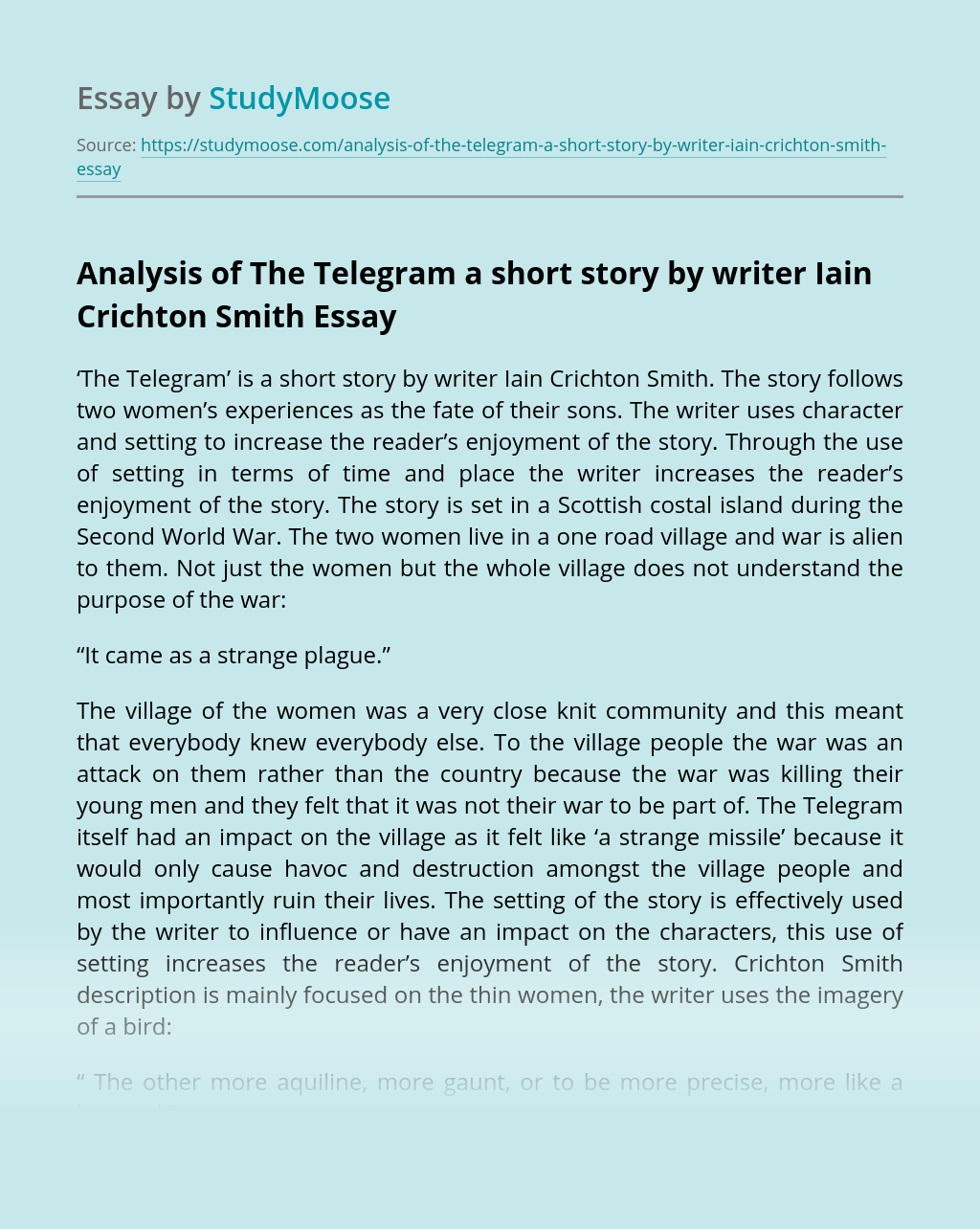 Analysis of The Telegram a short story by writer Iain Crichton Smith