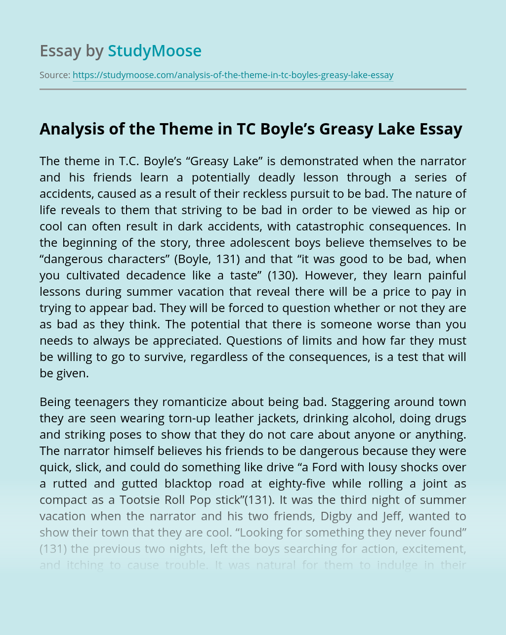 Analysis of the Theme in TC Boyle's Greasy Lake