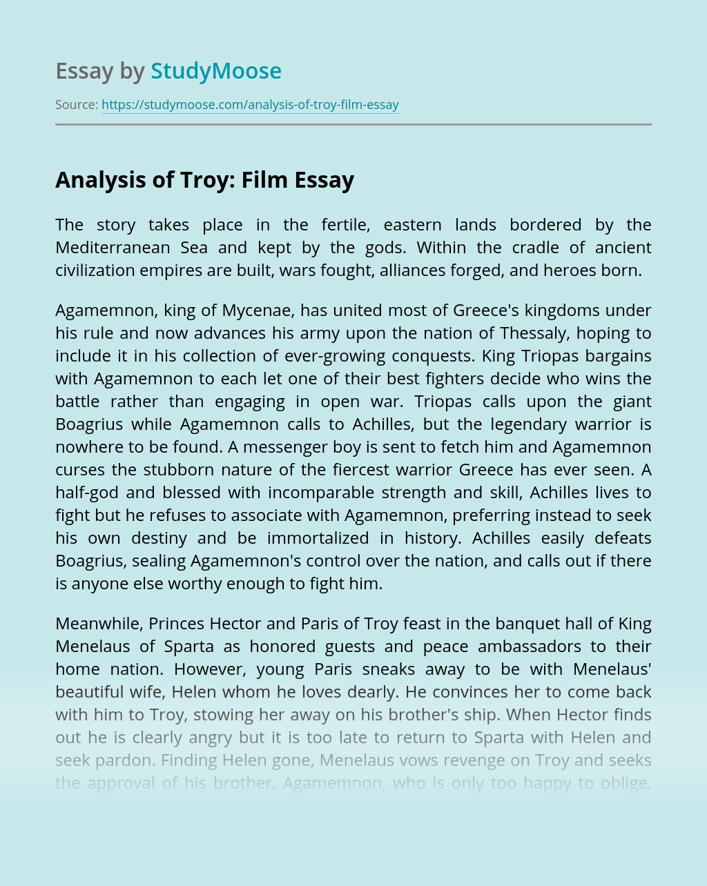 Analysis of Troy: Film