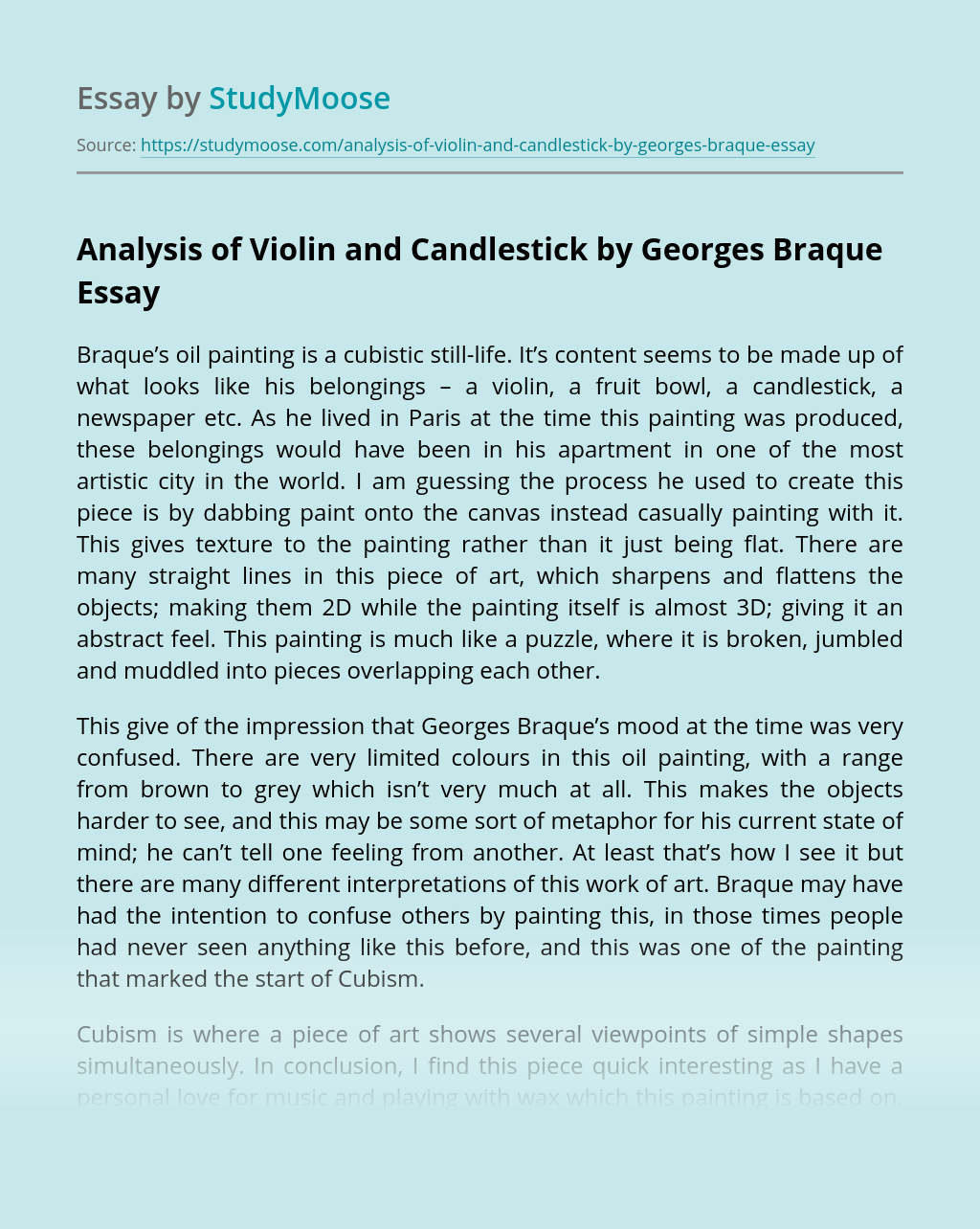 Analysis of Violin and Candlestick by Georges Braque