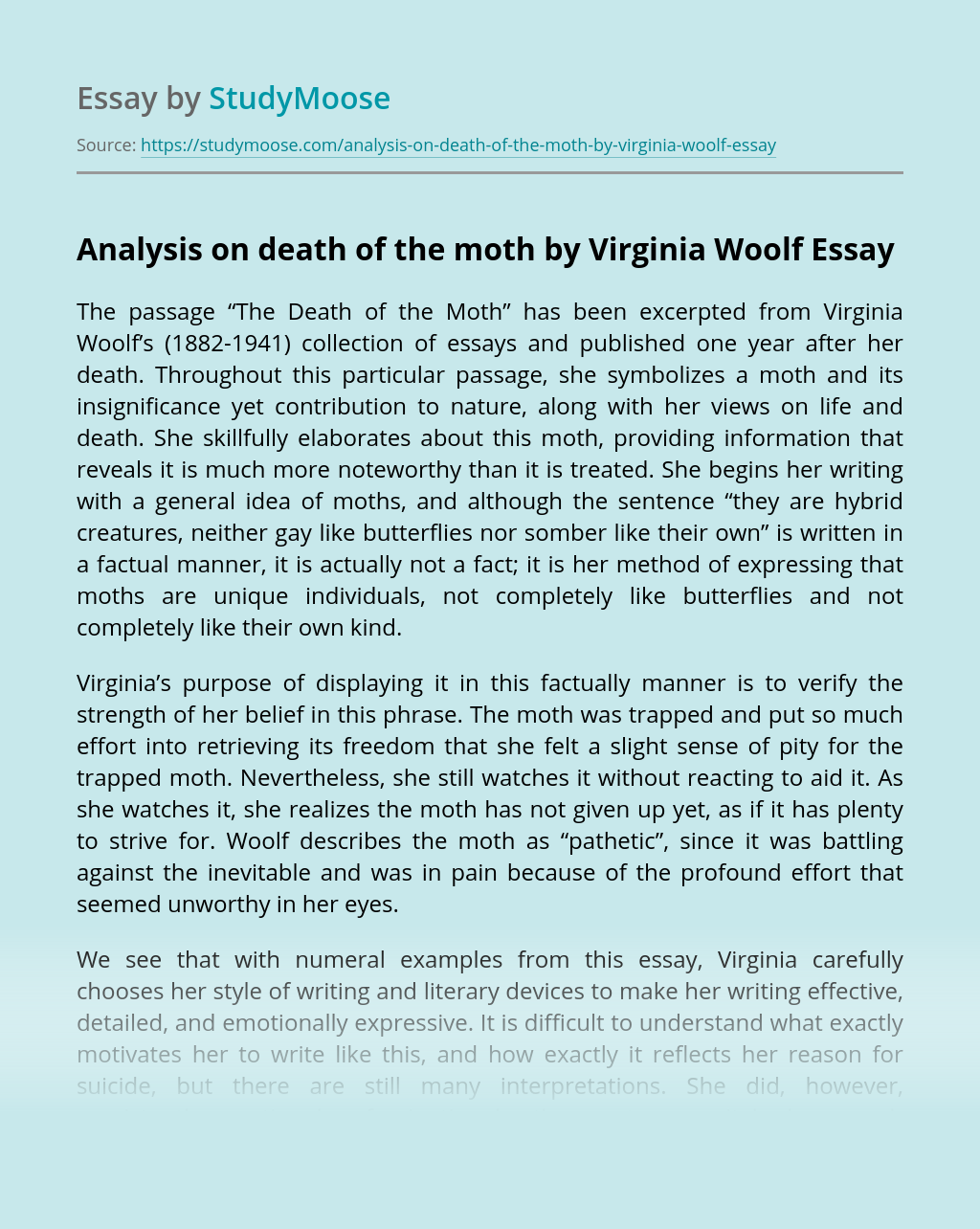 Analysis on death of the moth by Virginia Woolf