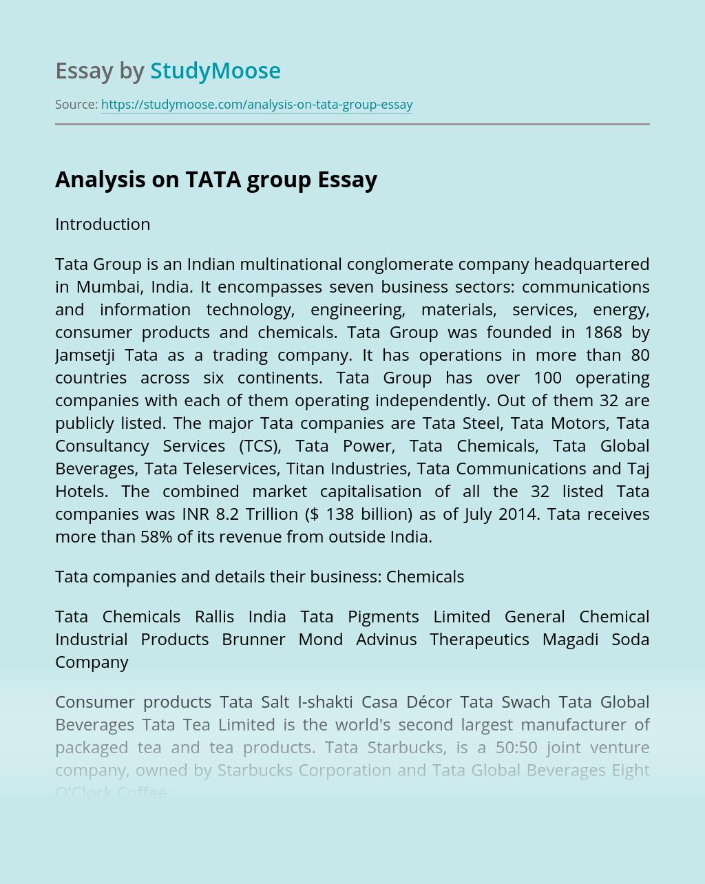 Analysis on TATA group