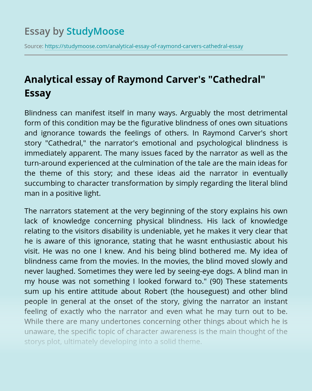 "Analytical essay of Raymond Carver's ""Cathedral"""