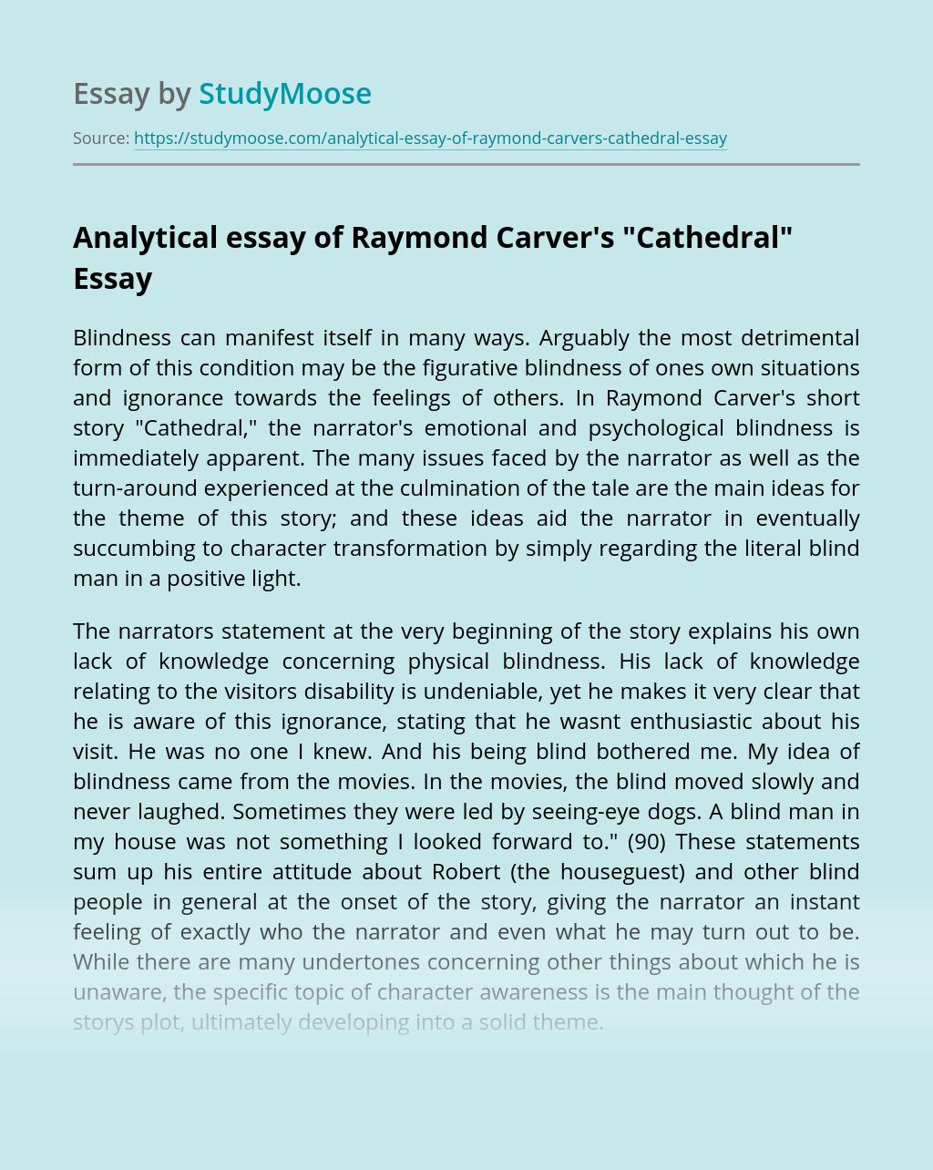 Analytical essay of Raymond Carver's