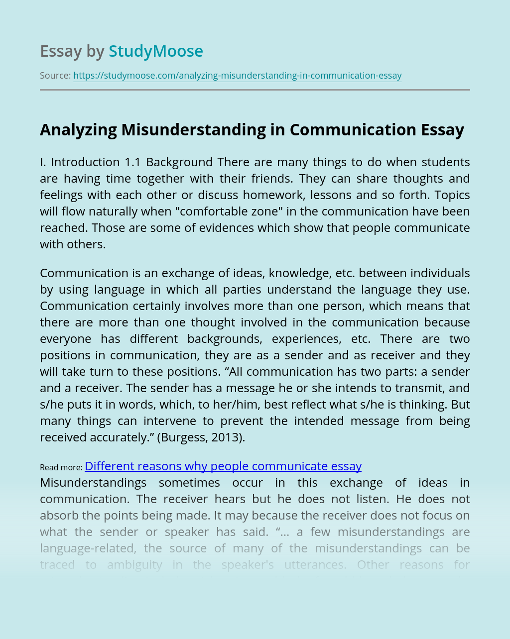 Analyzing Misunderstanding in Communication