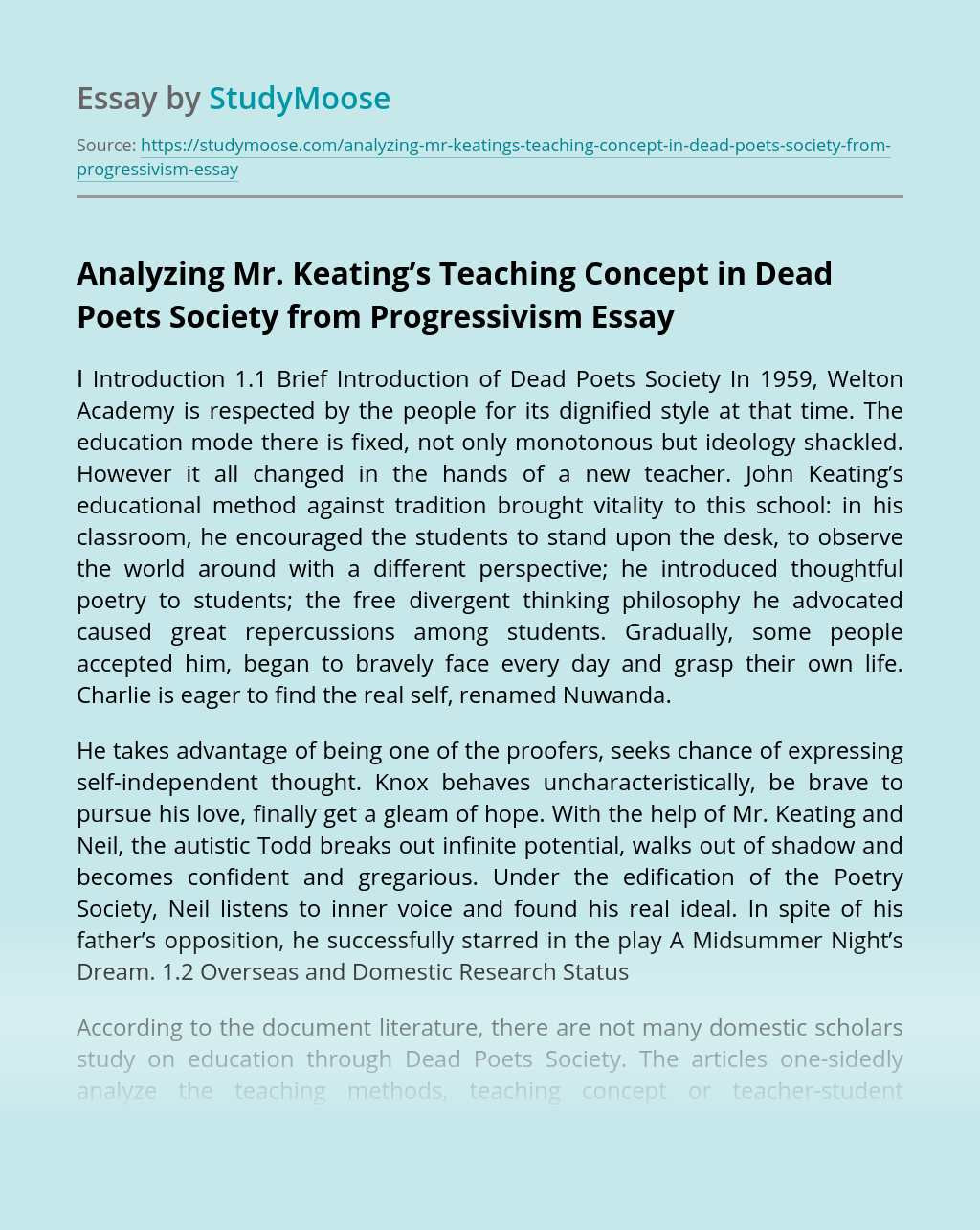 Analyzing Mr. Keating's Teaching Concept in Dead Poets Society from Progressivism