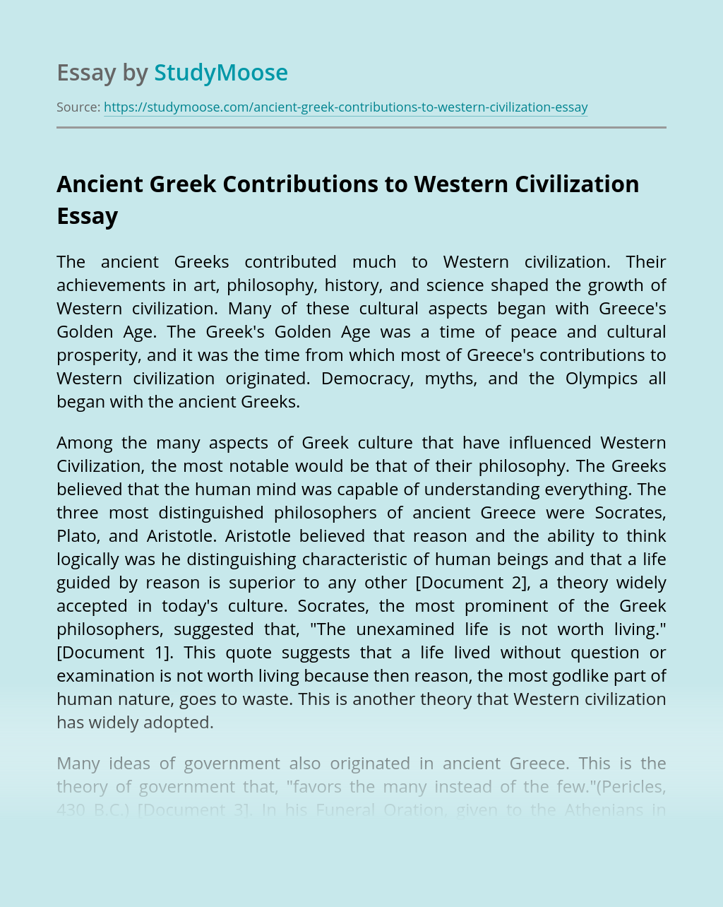 Ancient Greek Contributions to Western Civilization