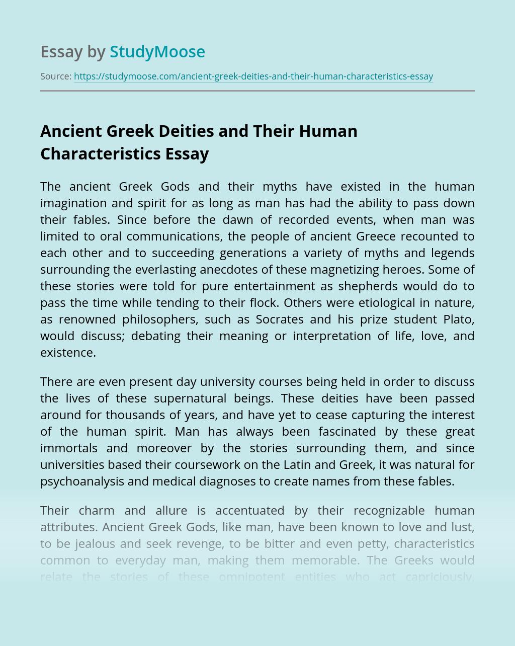 Ancient Greek Deities and Their Human Characteristics