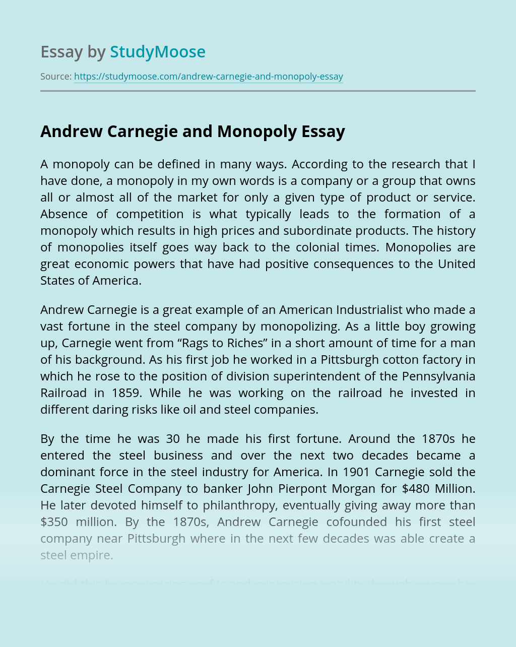 Andrew Carnegie and Monopoly