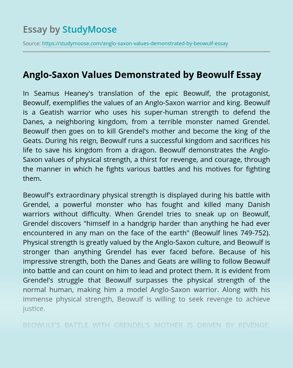 Anglo-Saxon Values Demonstrated by Beowulf