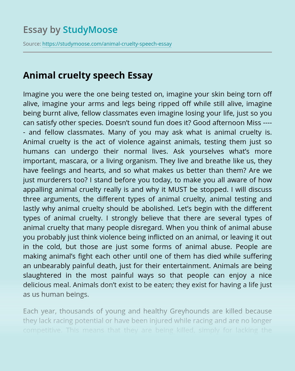 Animal Abuse Essay