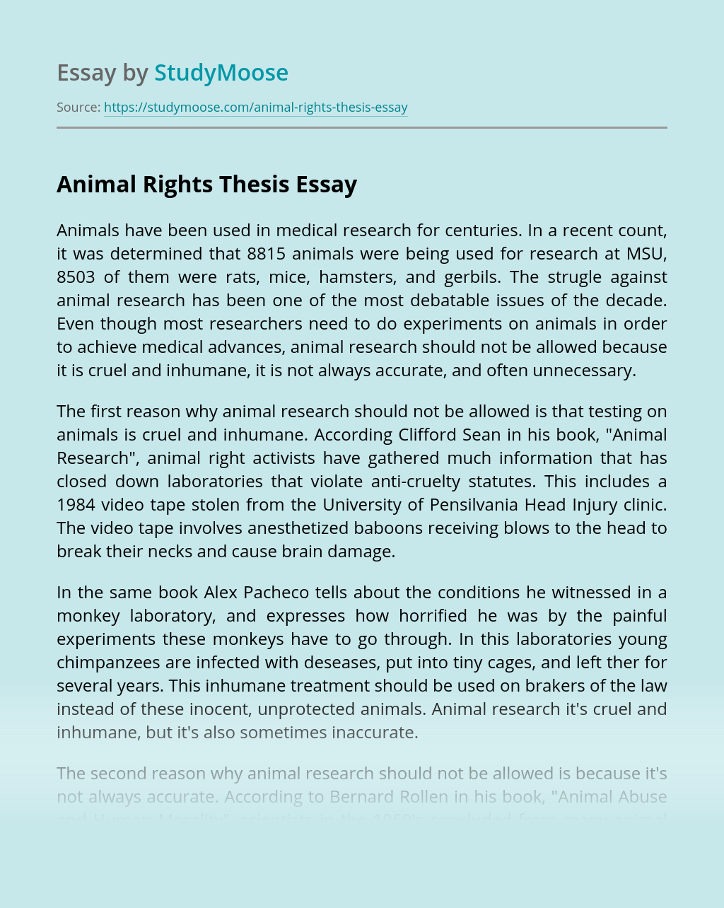 Animal Rights Thesis