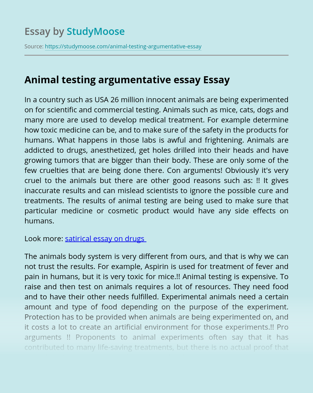 Example of argumentative essay on animal testing