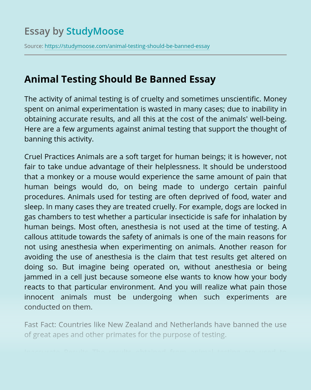 Animal Testing Should Be Banned