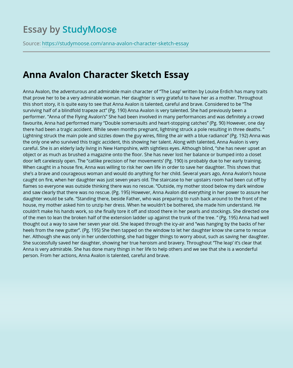 Anna Avalon Character Sketch
