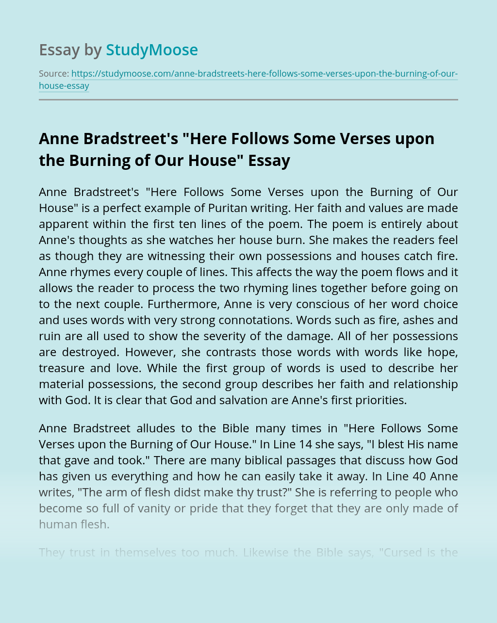 "Anne Bradstreet's ""Here Follows Some Verses upon the Burning of Our House"""