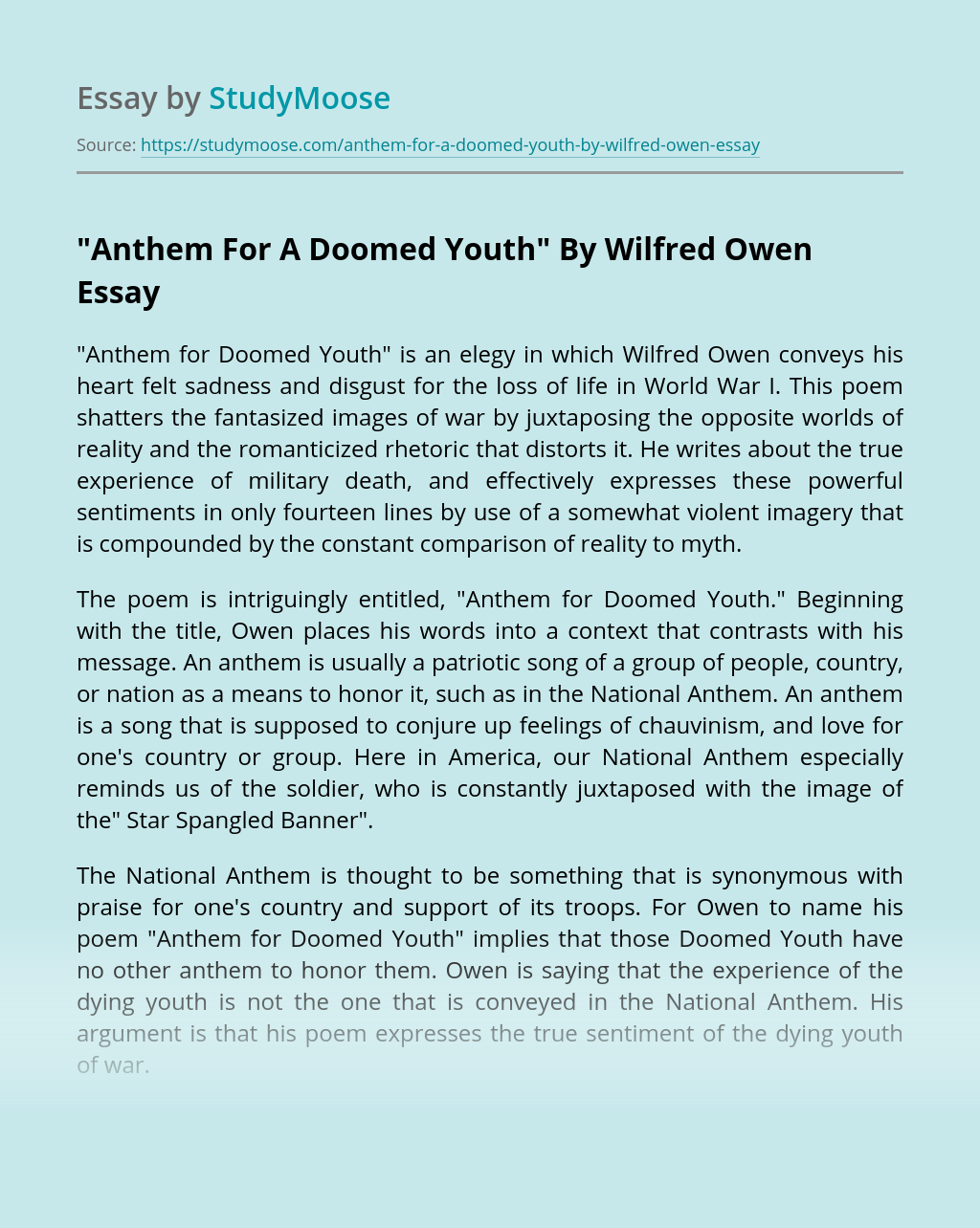 """""""Anthem For A Doomed Youth"""" By Wilfred Owen"""