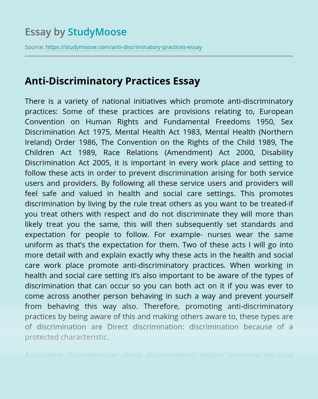Anti-Discriminatory Practices