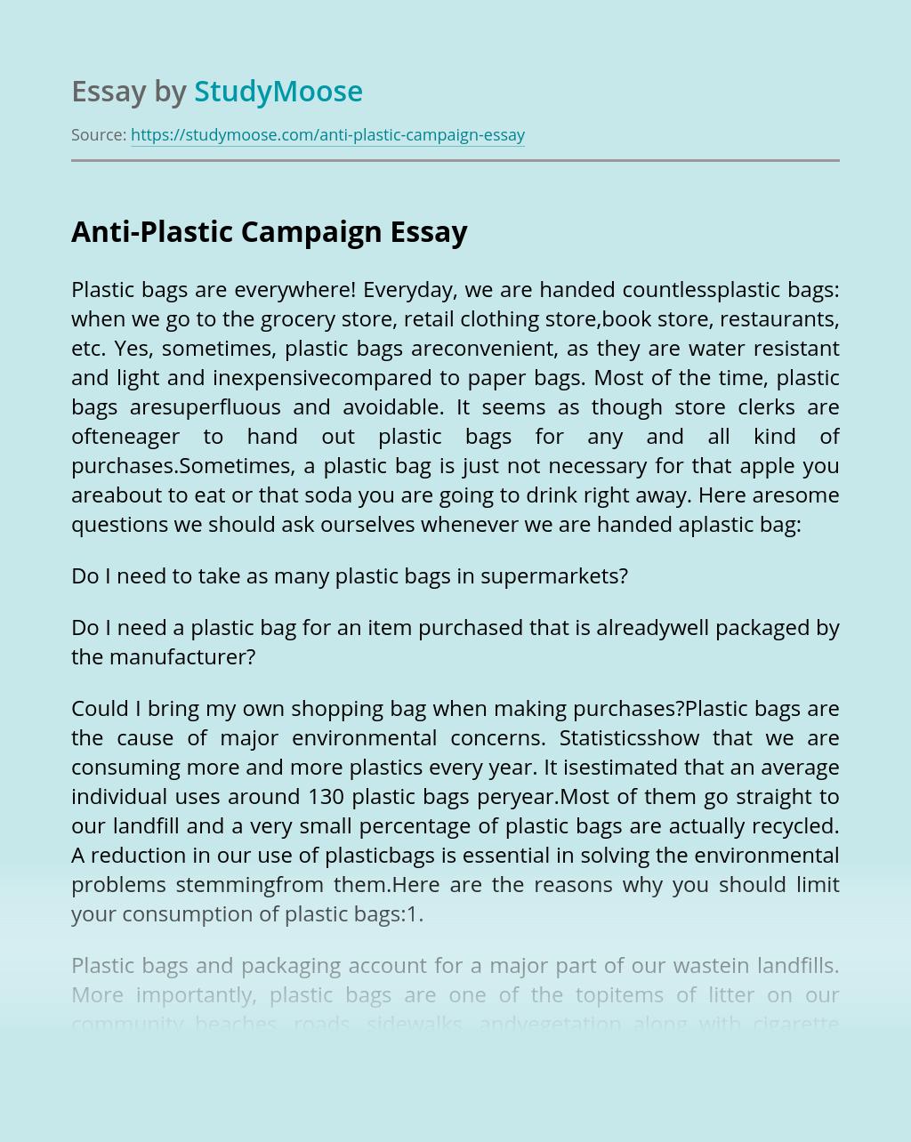 Anti-Plastic Campaign