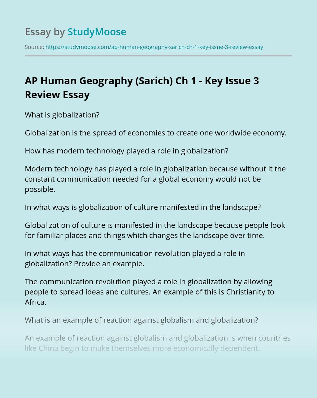AP Human Geography (Sarich) Ch 1