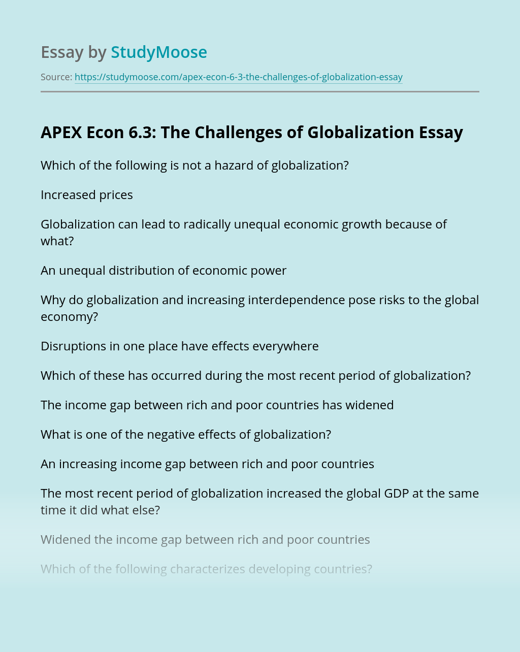 APEX Econ 6.3: The Challenges of Globalization